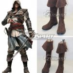 COSS0445 Assassins Creed 4 Black Flag Edward James Kenway Brown Cosplay Boots - Assassin's Creed