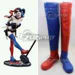 COSS0454 DC Batman Harley Quinn Blonde Anime Red Blue Cosplay Boots - D.C
