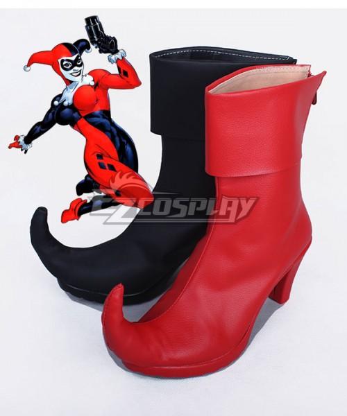 9786ea0395786a COSS0664 DC Comics Batman Arkham Asylum Harley Quinn Joker Black And Red  Shoes Cosplay Boots –