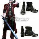 COSS0976 Devil May Cry 4 Dante Black Shoes Cosplay Boots - Devil May Cry
