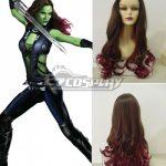 EWG1128 Guardians of the Galaxy Gamora Long Wavy Brown & Red Cosplay Wig - Guardians of the Galaxy