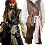 EPC0007 Pirates of the Caribbean Captain Jack Sparrow Halloween Cosplay Costume - Halloween Promotion